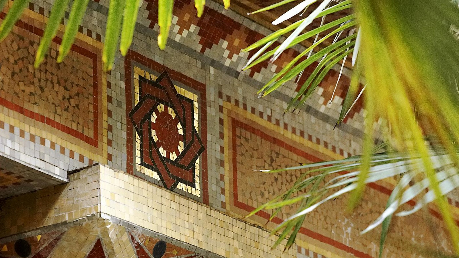 Mosaic detailing at the patio.