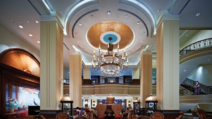 The colonial-inspired lobby lounge of the new Sule Shangri-La, Yangon.