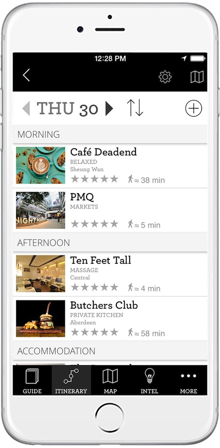 Users can choose from pre-selected itineraries or craft one of their own.