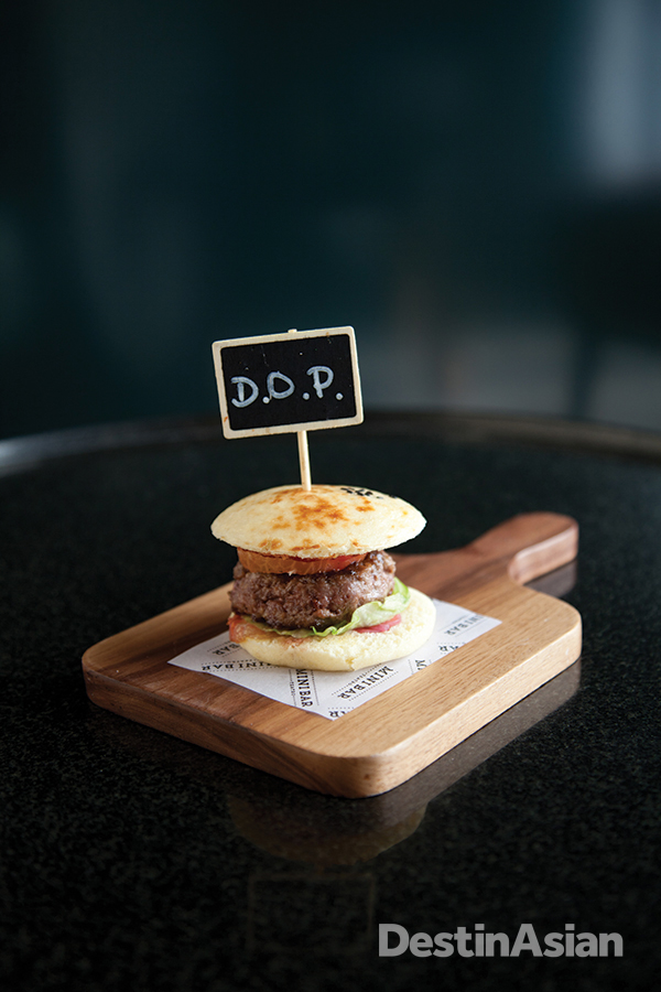 Mini Bar's PDO (Protected Designation of Origin) beef burger.