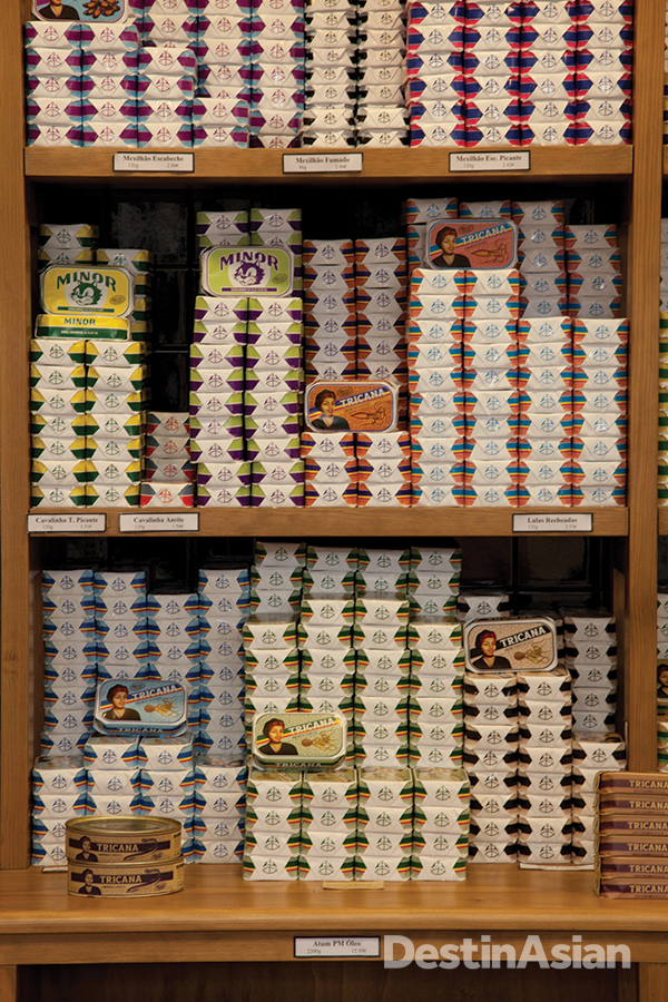 A display of conservas, or tinned seafood.