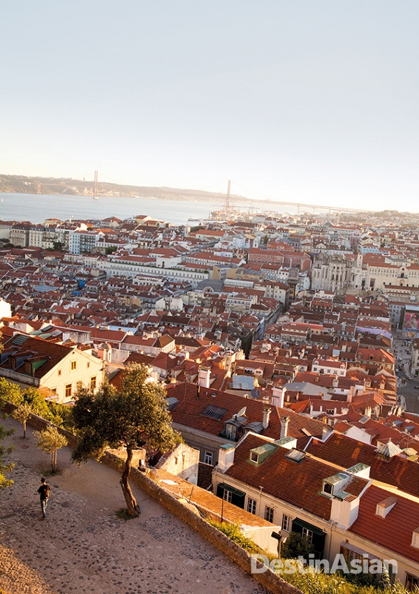 Overlooking Lisbon and the Tagus River from the hilltop Castle of Sao Jorge.