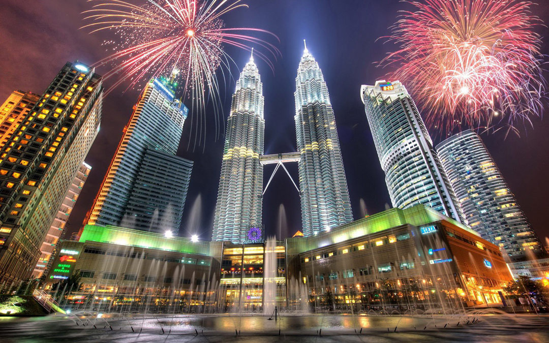 Fireworks over the Petronas Towers.