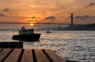 Sunset views of the Bosphorus Bridge.