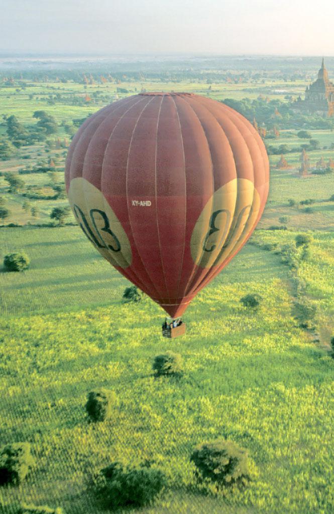 Taking to the sky near Bagan.