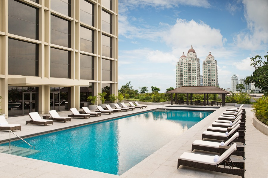 The terrace pool outside the fitness center at the Fairmont.