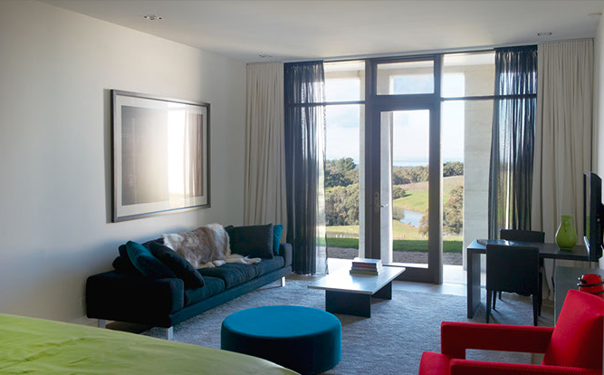 A living room with a view at Port Phillip Estate.