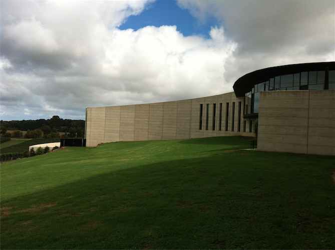 The rammed-earth walls of the estate.