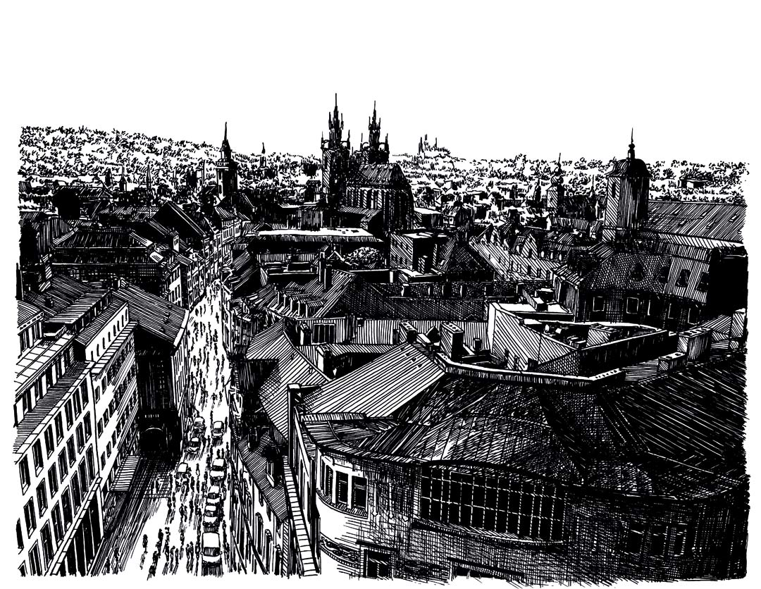 Prague as illustrated by Eugene Zando.
