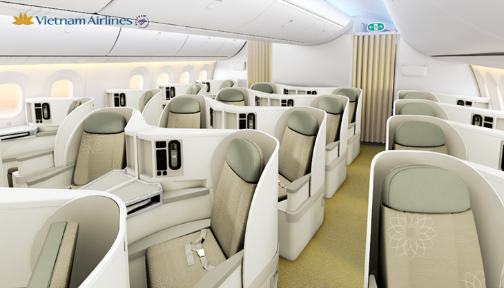 B787's Business Class is outfitted with Zodiac Aerospace Cirrus seats.