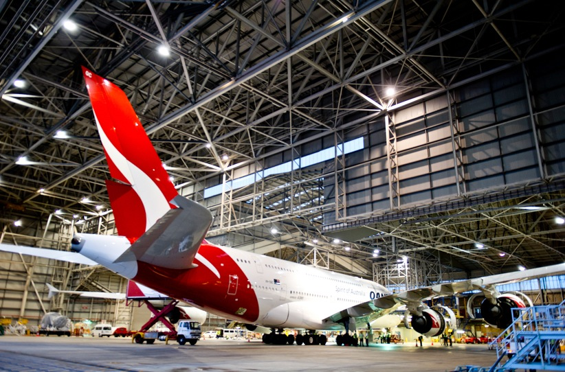 The tail of the Qantas jumbo jet.