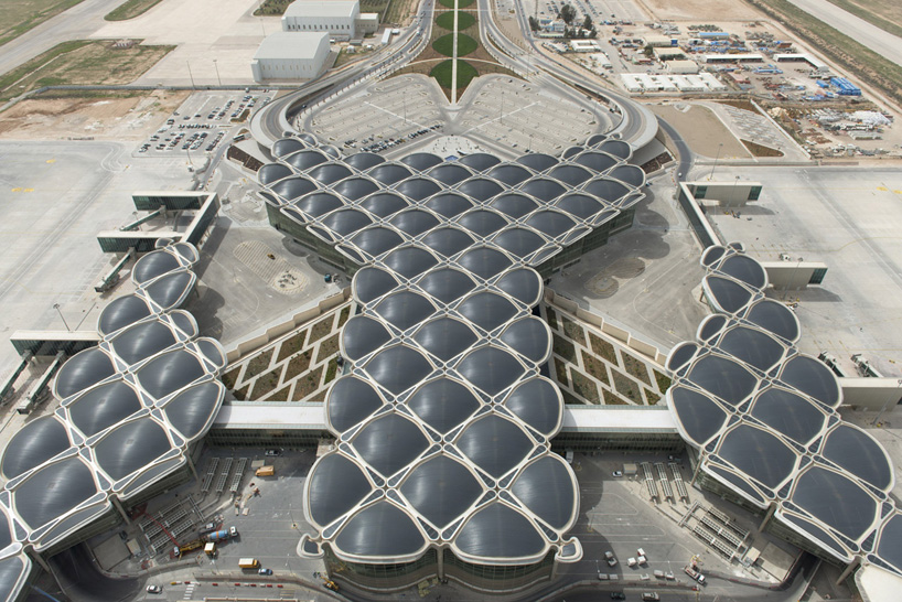 An aerial view of Foster + Partners' new terminal at Queen Alia International Airport.