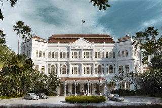 The facade of the flagship Raffles Singapore.