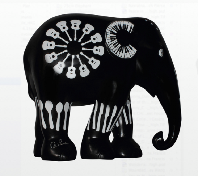 Notable public figures such as Richard Branson, founder of Virgin Group whose elephant is shown above, contribute their creativity to the cause.