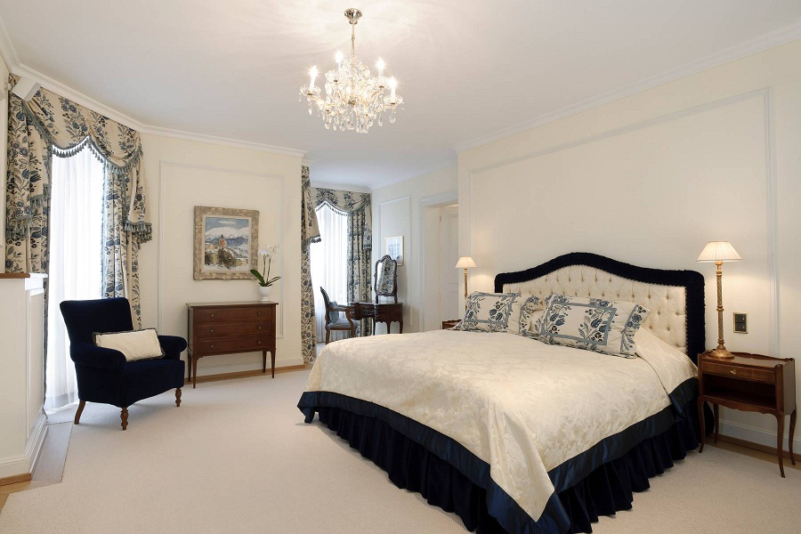 Bedrooms in the hotel feel palatial in their classicism.