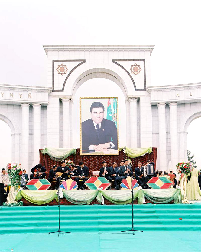 A band plays on in Ashgabat's Golden Age Park.