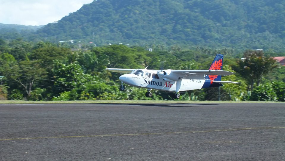 A Samoa Air plane touching down.