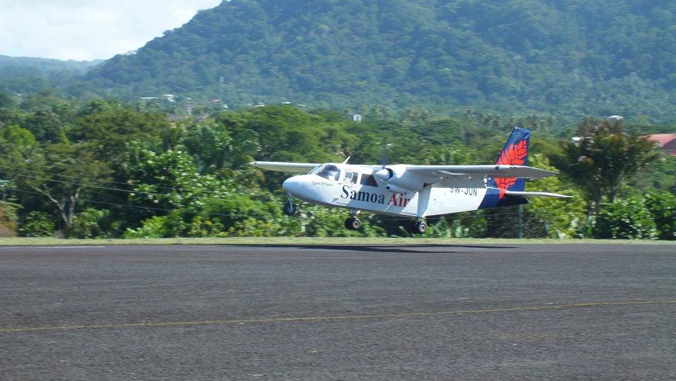 A Samoa Air plane touching down.