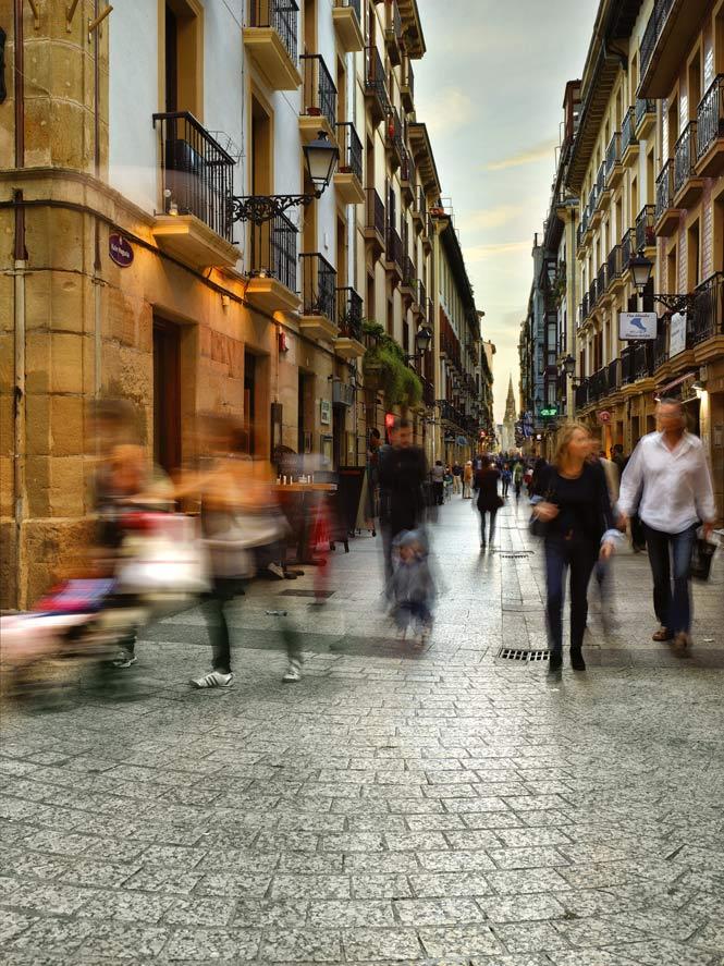 Amid the cobbled lanes of San Sebastián's old quarter.