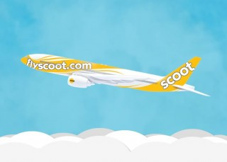 artists' rendering of Scoot Airlines' livery