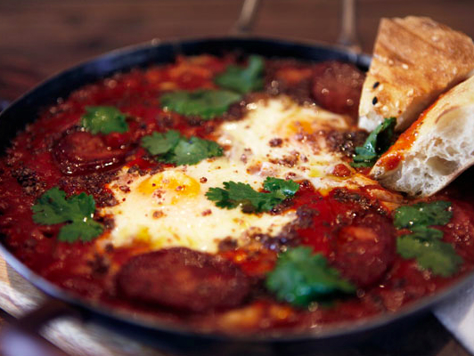 Isit's shakshuka, a North African dish of eggs baked in a tomato sauce.