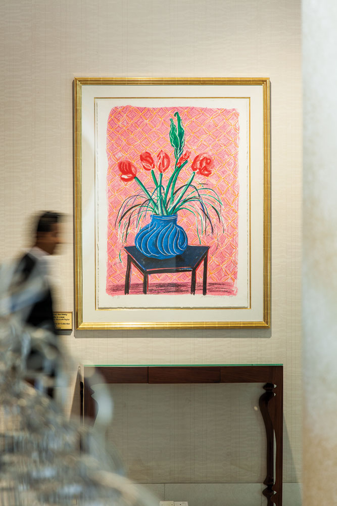 David Hockney's Amaryllis in Vase, on loan from the owner's wife, is one of several art pieces displayed in the hotel.