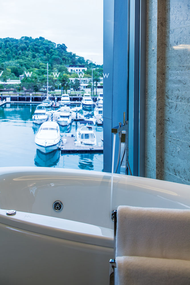 A view of the Sentosa Cove yacht marina from a W bathroom.