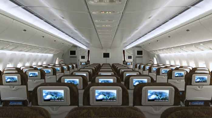 The Economy cabin of a Garuda Indonesia 777-300ER. Soekarno-Hatta International Airport runway needs to be upgraded before the airline starts flying to London.