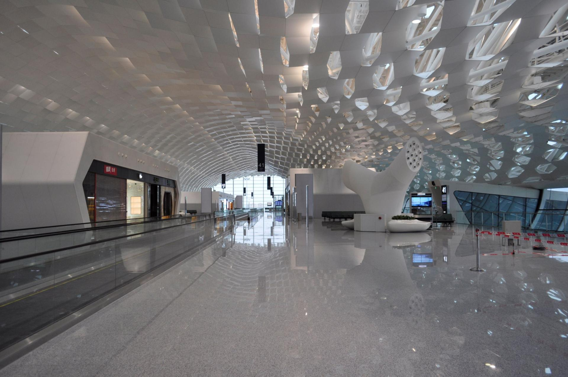 The honeycomb pattern is repeated throughout the terminal.