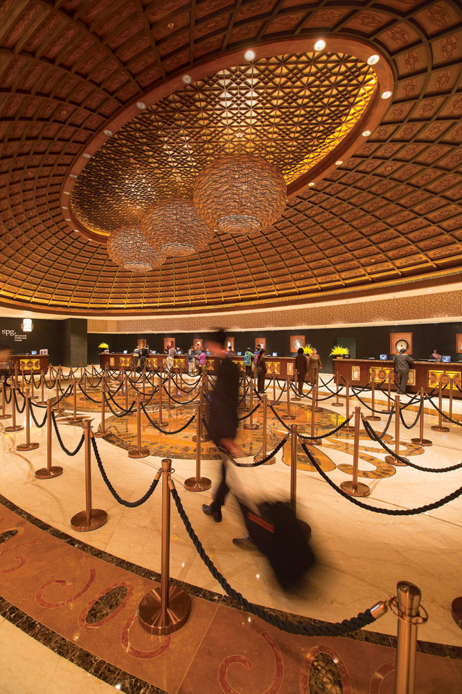Check-in at the Sheraton Macao is facilitated by 61 reception counters.