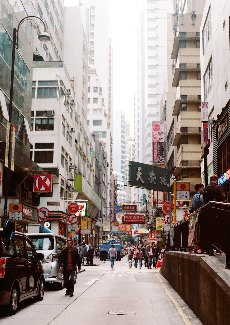 A view from the Sheung Wan subway stop into its bustling core. Photo by Cindy Chan