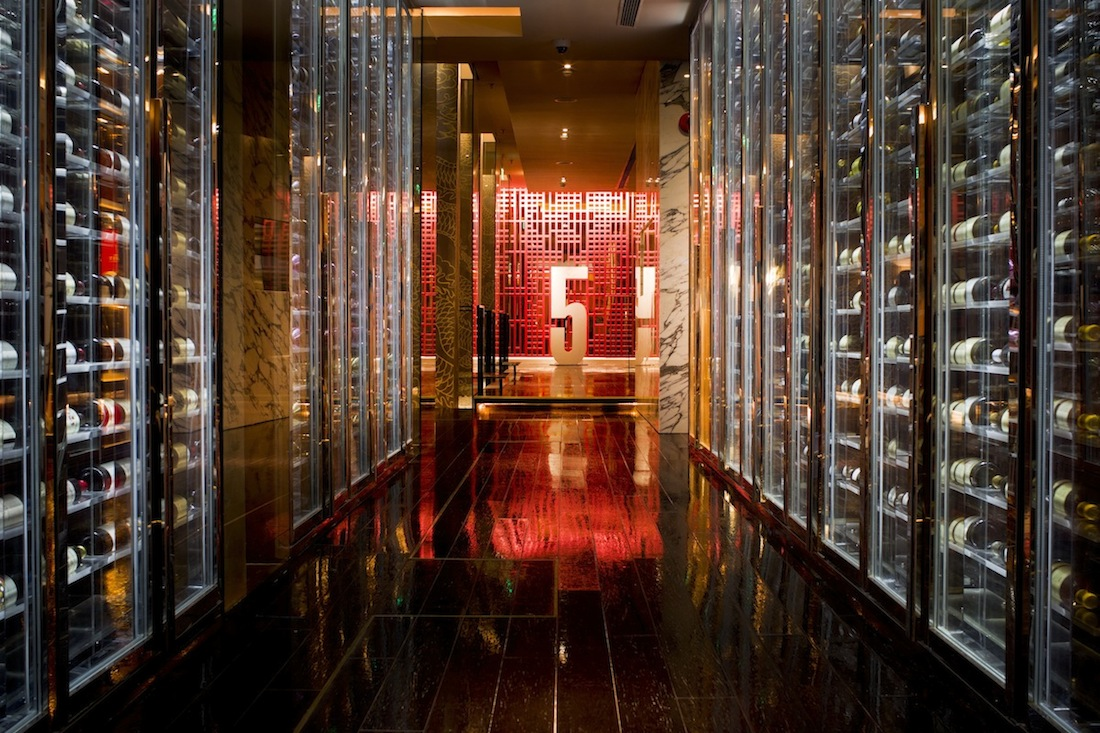 The extensive wine cellar at Shook! bar.