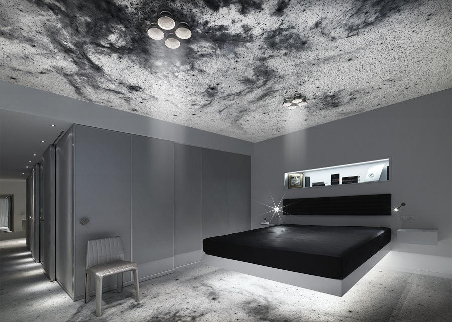 The Space Suite's zero-gravity bed, inspired by the monolith from Stanley Kubrick's 2001: A Space Odyssey. (Photo: Michael Najjar)