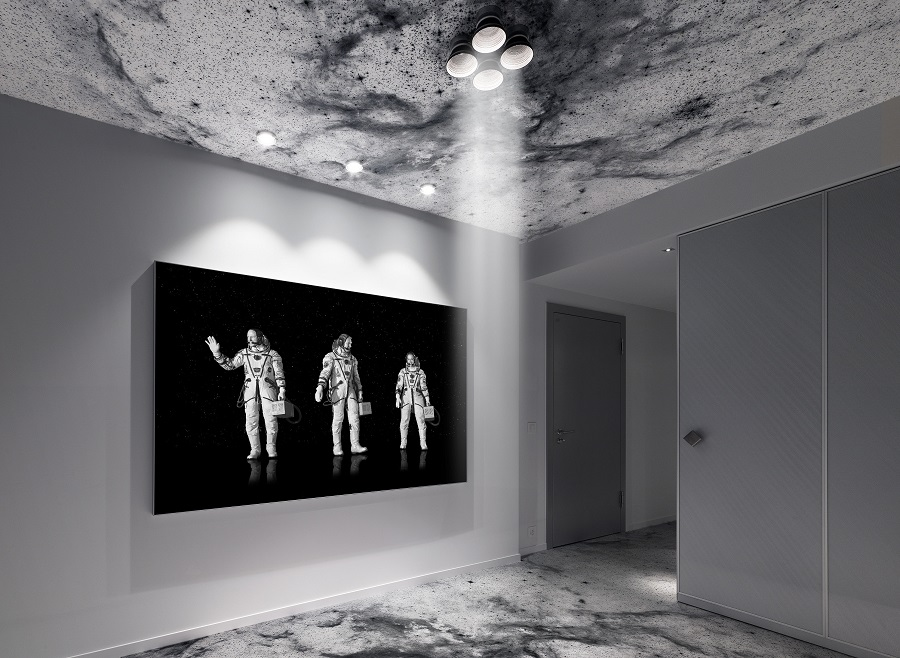 Space-themed artwork decorate the suite's walls. (Photo: Michael Najjar)