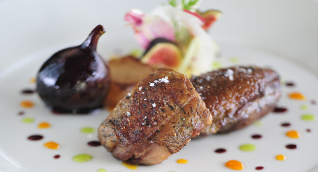 Duckling with spices, black figs and white turnips at Spoon