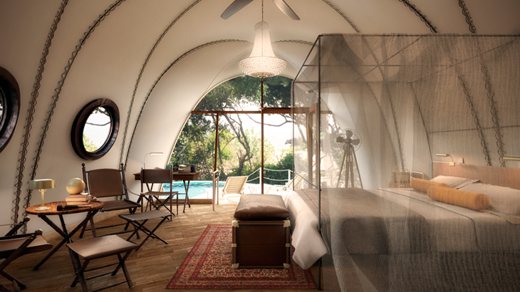 Inside one of the Cocoon suites at Wild Coast Tented Lodge in Sri Lanka.