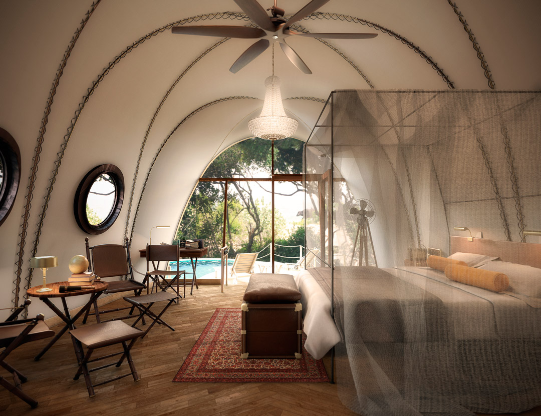 Inside one of the Cocoon suites.