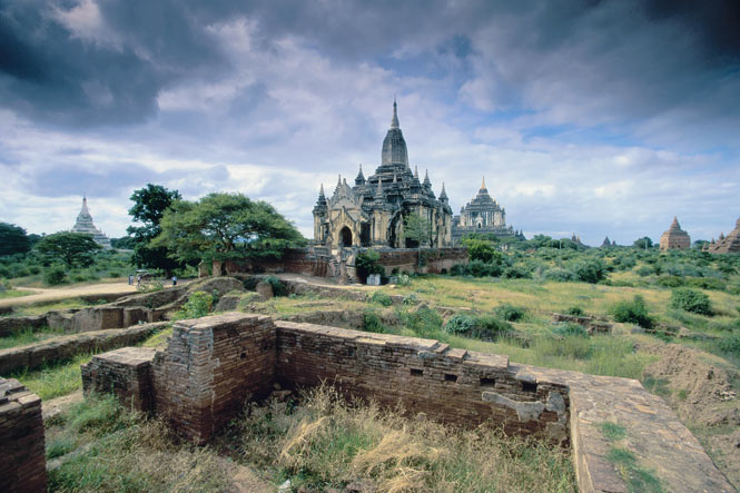 The ruins of thousands of temples dot the fields of Bagan in central Myanmar.