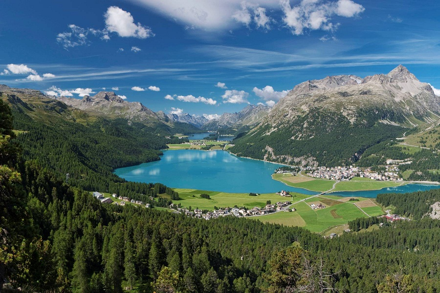 St. Moritz, nestled in the Swiss Alps, offers a stunning natural backdrop.