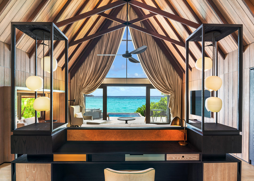 Inside one of the resort's high-ceilinged beach villas.