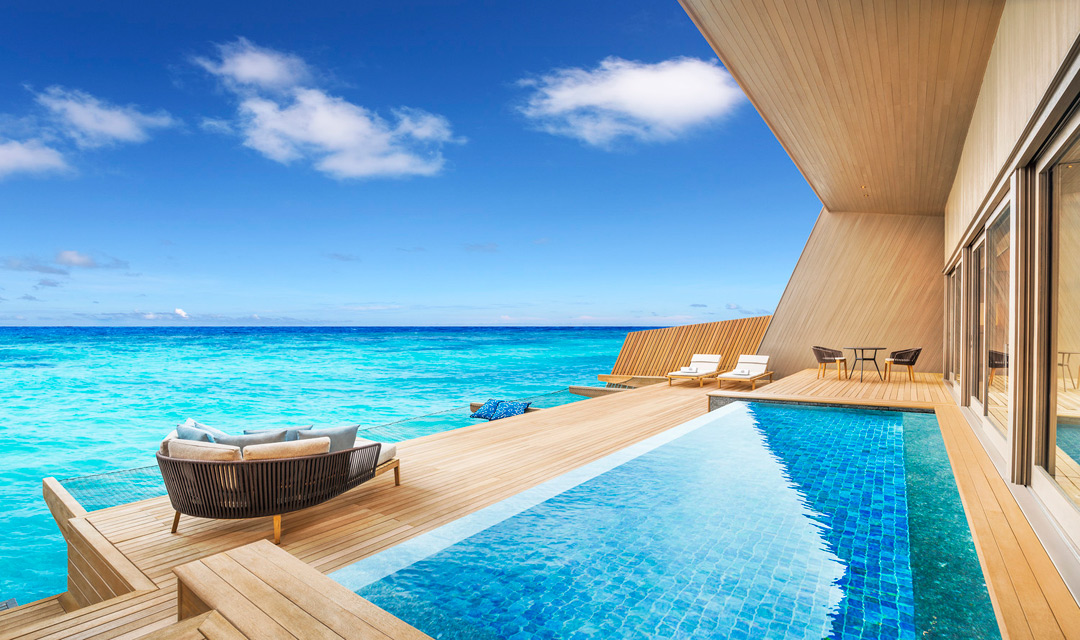 Each overwater villa comes with a private pool.