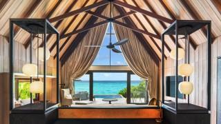 Inside a beach villa at The St. Regis Maldives Vommuli.