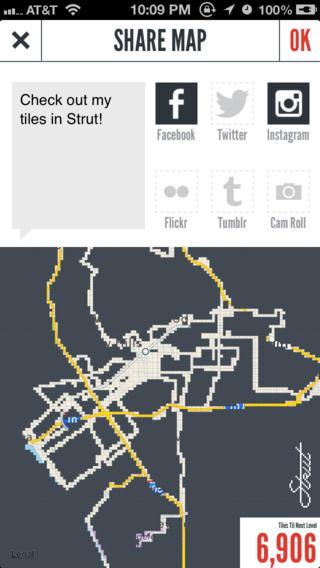 Strut's mobile application interface.