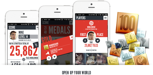 Strut's allows users to win medals for globetrotting.