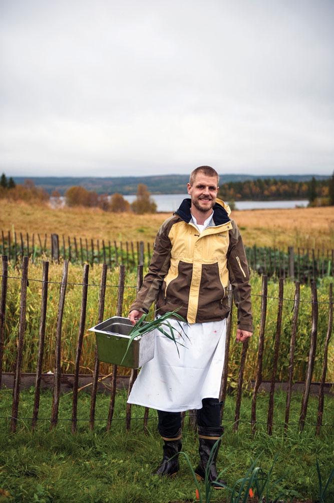 A chef at Fäviken gathering ingredients from the restaurant's garden.