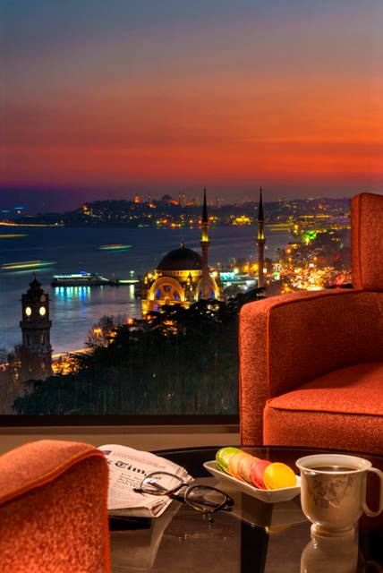 The view at dusk from the Swissôtel Istanbul.