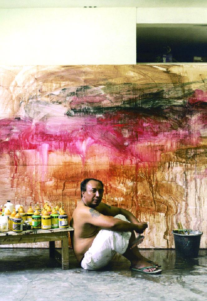 Taking a break in his basement studio at Yogyakarta's Sangkring Art Space.
