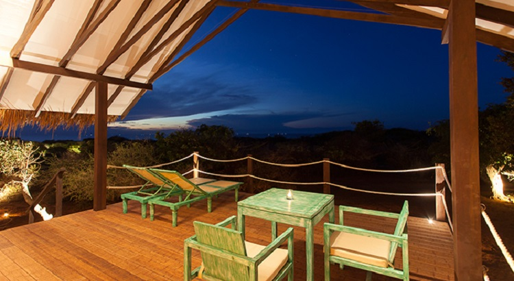A view from the terrace at dusk.