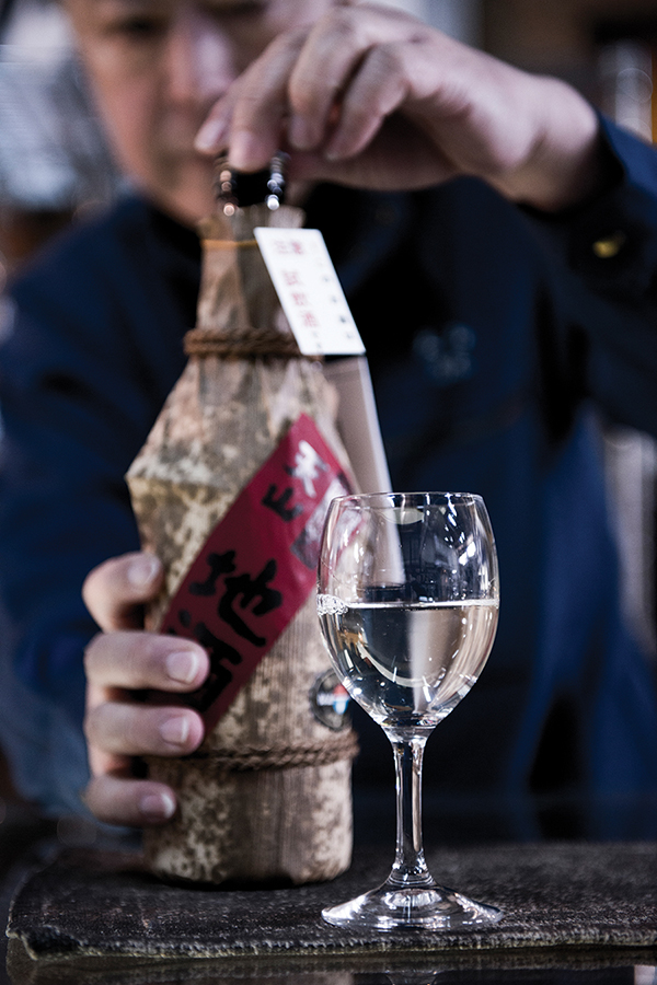 A special-edition sake is unveiled at the Tenzan brewery in Saga.