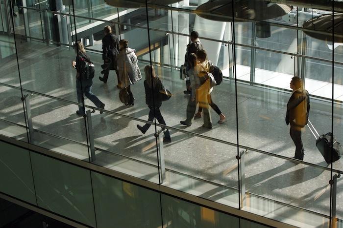 Passengers arriving into British Airways Terminal 5.